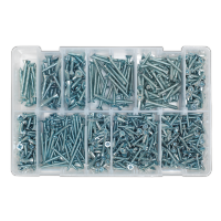 Self Tapping Screw Assortment 600pc Countersunk Pozi Zinc DIN 7982  AB065STCP